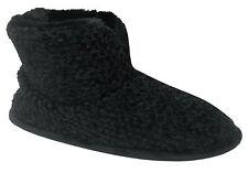 Dearfoams Women's Chenille Bootie Slippers (Large / 9-10, Black)