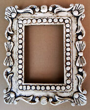 Wooden Frame Vintage Finish Hand Carved Picture Photo Frame Collectible Art