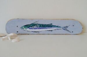 Mackerel on Reclaimed Wood, Ocean life, Driftwood Art (48 cm x 9.5 cm)
