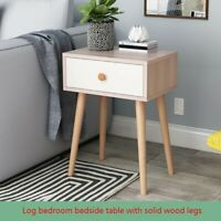 Simple Log Bedroom Storage Cabinet Solid Wood Legs Storage Single Drawer Cabinet