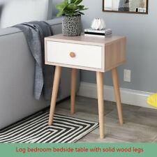 Simple Log Bedroom Storage Cabinet Solid Wood Legs Storage Single Drawer Cabinet