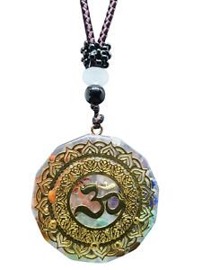 Orgone Om Pendant Symbol Chakra Healing Energy Gemstone Mandala Cord Necklace