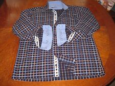Visconti Uomo Contrast Flip Cuff Blue Embroidered 2 Ply Cotton Shirt Size Medium