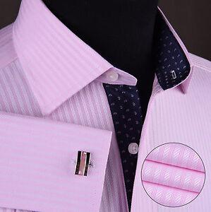Pink Herringbone Twill Formal Business Dress Shirt Navy Floral Sexy Boss Design