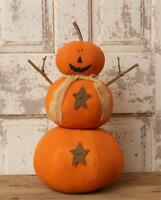 New Primitive Rustic Halloween JACK O LANTERN MAN DOLL Stacked Pumpkin Figure