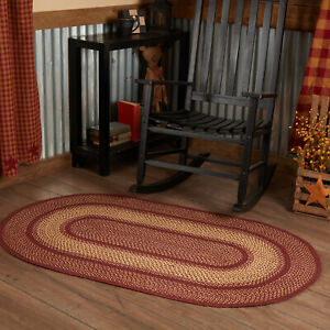 VHC Burgundy Red Eco-Friendly Jute Primitive Country Oval Braided Rug W/Pad