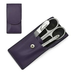 Hans Kniebes Best 3 pcs Manicure Set Nappa Leather Case Purple Travel Gift Him