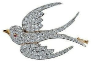 1.95ct NATURAL DIAMOND 14K SOLID WHITE GOLD RUBY BIRD BROOCH PIN