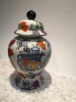 Antique Vintage Chinese Floral Porcelain Ginger Jar w/Lid Stamped VGUC