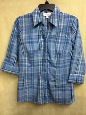 WOMENS COLLARED, BUTTON-DOWN, 3/4 LENGTH SLEEVE BLOUSE by DRESS BARN size MEDIUM