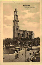 Amsterdam Niederlande ~1930 Tram Straßenbahn Westermarkt Kerk Kirche Kathedrale