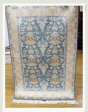 All-Over Rug Living Room Handmade 4' X 6' Silk Light Blue-Ivory