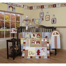 Boys Crib Bedding Fire Truck Firefighter Dog Red 13 PC Set Baby Toddler Quilt