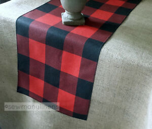 Christmas Holiday Table Runner Table Centerpiece Red and Green Linens Home Decor