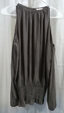 Ramy Brook Lauren Cold Shoulder Long Sleeve Top Cement Size Small