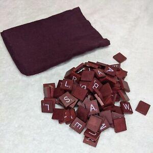 99 Scrabble Tiles Maroon Red Burgundy Wood Letters w/ Bag - 1989 Vintage