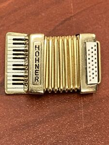 Rare Hohner Gold Tone Accordion Brooch Made In Germany
