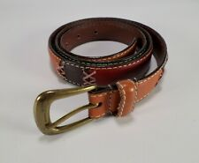 Patchwork Leather Belt Red Green Orange Brown Blue Large 34
