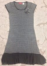 Rene Derhy Cap Sleeve Knitted Ruffle Trim Dress Size FR 36 US 2