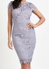 SALE🌹BNWT LIPSY LILAC CROCHET EMBROIDERED SWEETHEART NECK BODYCON DRESS UK 12