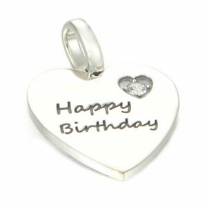 Happy Birthday Heart Charm or Pendant - S925 Sterling Silver