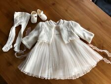 QUINIBI Luxus Taufkleid Set Kleid Jacke Strumpfhose Schuhe Gr. 62 68 NEU TRAUM