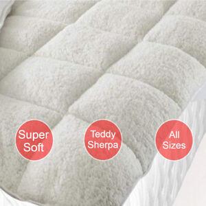 """""""Sherpa"""" Teddy Bear Fleecy Mattress Topper Protector Under Blanket Winter Warm"""