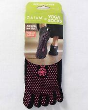 Gaiam One Pair Black Pink Yoga Socks Size Medium / Large All Grip No Slip