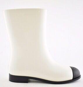 Chanel 19C Ivory White Black CC Logo PVC Rubber Winter Snow Short Rain Boot 40