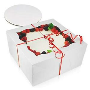 [10 Pack of Each] 12 Inch Cake Boxes with Cake Boards Set - 10 Sturdy 12x12x6