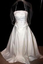 $1000 Allure Bridals Ivory satin bead bridal gown wedding dress SZ  6 - 8