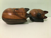 Lot of Two Hand Carved Wooden Sleeping Cats