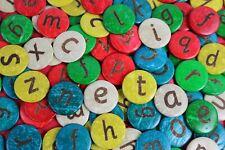 52 COCONUT Shell Lowercase Alphabet discs - 25mm coloured  Spell Craft Children