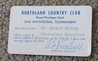 Vintage 1959 Northland Country Club guest privileges card golf tournament