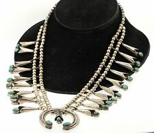 Vintage heavy Sterling silver beautiful turquoise squash blossom necklace