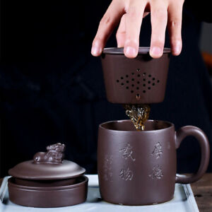 authentic yixing zisha tea cup with infuser cup lid handle holder handmade carve