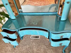 Painted Turquoise Mermaid Antique French Vanity Dresser with Mirror