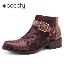 SOCOFY Women Cow Leather Splicing Shoes Retro Flower Pattern Zipper Boot