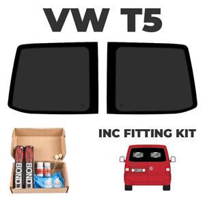 2 x VW T5 Transporter Barn Door Windows, T5 twin rear door window WITH FIT KIT