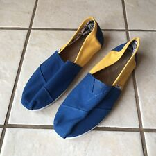 Tom's Men's Royal Blue Yellow Two Tone Flat Comfort Casual Loafers Shoes 10M Euc