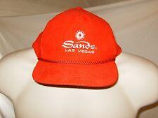 Vintage 1980s Sands Casino Las Vegas  Snapback Red Corduroy Hat Cap 90s