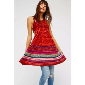 Free People Rare Hearts Knit Boho Festival Sleeveless Tunic Top XS