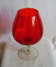 """Vintage Ruby Red Oversized Brandy Balloon Glass 10.5"""" High  (27 cm)"""