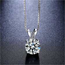 Lab Created AAA CZ Necklace 2 Carat Brilliant Cut Solitaire pendant round single