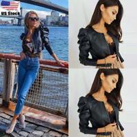 Womens PU Leather Biker Jacket Ladies Long Sleeve Coat Zipper Up Cropped Tops UK