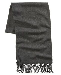 V. Fraas Men's Solid Fringe Scarf Charcoal Gray $42 NWT