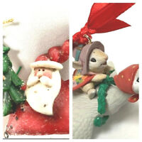 2 Christmas Ornaments Santa Running With A Tree And A Mouse Riding On A Goose