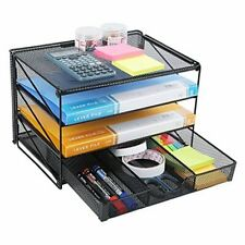 Paper Letter Tray Organizer Mesh Desk File Organizer With 3 Tier With Drawer