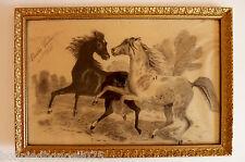 Dessin  de chevaux encadrement doré bois et stuc    réf 176/12