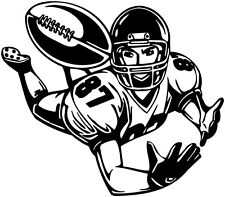 "9"" FOOTBALL PLAYER DIVING CATCH STICKER VINYL DECAL ROOM"